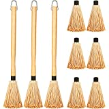 Boao 3 Pieces BBQ Basting Mop Grill Basting Mop in 18 Inches Wooden Long Handle with 9 Pieces Replacement Heads for Barbecue Cooking Roasting Grilling