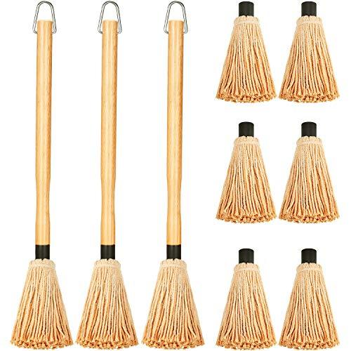 3 Stücke BBQ Basting Mop Grill Basting Mop in 18 Zoll Holz Langgriff mit 9 Stücken Ersatzköpfen zum Grillen Kochen Braten Grillen