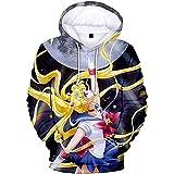 CREPUSCOLO Women's Sailor Moon Luna 3D Graphic Hoodies Anime Cosplay Costume Sweatshirt( xx_l Blue)