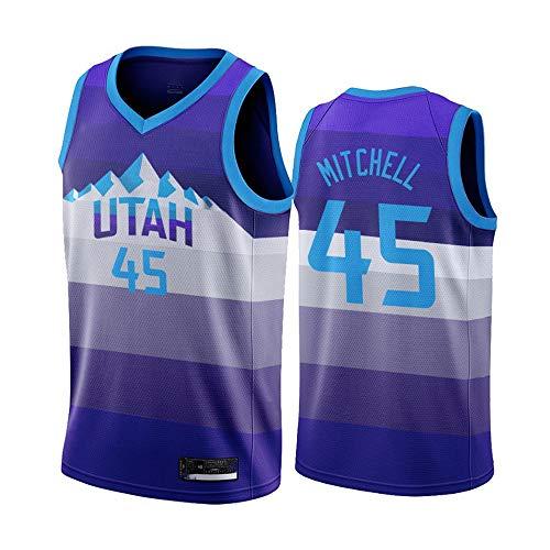 XIAOHAI NBA Sports Basketball Jersey Jazz # 45 Donovan Mitchell Transpirable Resistente a la Camiseta de Baloncesto de Malla Bordada,S