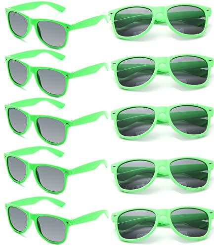 12 Pack of Neon Green Retro Sunglasses for Adults