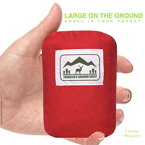 """""""Pocket Blanket"""" (Traveler's Ground Sheet) for Hiking, Camping, Beach and Picnic – Water Resistant, Compact Storage Pouch, Weights 140 grams, Measures 1.9 x 1.27 meters … - 2"""