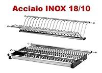 laferr scolapiatti acciaio inox 18/10 aisi 304 da 86 76 56 cm per pensili da 90 80 60 cm attacco a molle in acciaio (86)