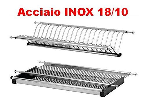 SCOLAPIATTI ACCIAIO INOX 18/10 AISI 304 DA 86 CM PER PENSILI DA 90 CM ATTACCO A MOLLE IN ACCIAIO