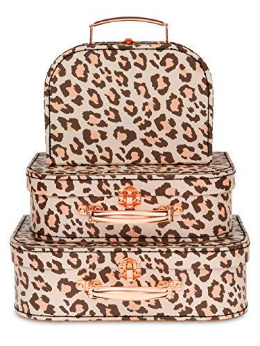 Jewelkeeper Paperboard Suitcases, Set of 3 – Nesting Storage Gift Boxes for Birthday Wedding Easter Nursery Office Decoration Displays Toys Photos – Leopard Print Design