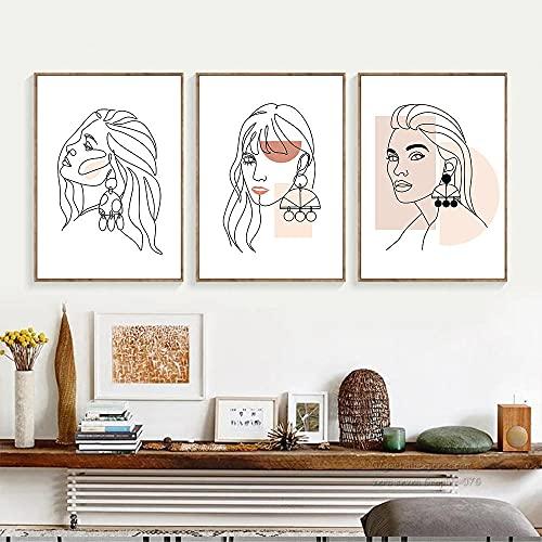 Arte de la pared de las mujeres de la belleza abstracta Póster Moda Chica Pendientes colgantes Arte Línea de impresión Dibujo Lienzo Pintura Decoración moderna para el hogar / 40x50cmx3Pcs / Sin marco