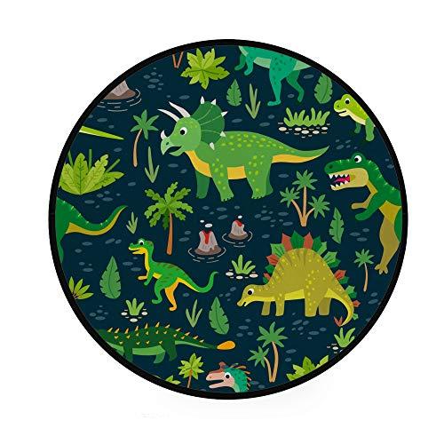 Orediy 92 cm runde Schaumstoff-Teppiche Wald Dinosaurier leichter Kindergarten Spielteppich Boden Yoga Matte für Wohnzimmer Schlafzimmer