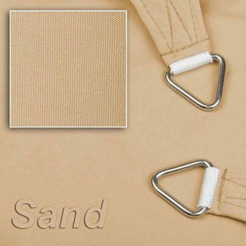 hanSe® Marken Sonnensegel Sonnenschutz Wetterschutz Wetterbeständig 100% Polyester wasserabweisend Rechteck 2x4 m Sand