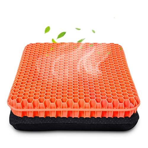 Cojín de asiento de gel grueso con funda antideslizante, transpirable, diseño de panal, absorbe los puntos de presión para coche, silla de oficina, silla de ruedas (naranja)