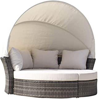 Hospitality Rattan 890-1551-GRY/SU-751 Ultra Canopy Daybed & 2 Ottomans with Cushions, Sunbrella Milano Cobalt