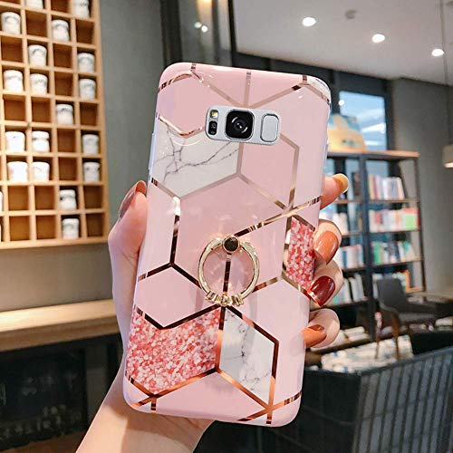 Uposao Coque pour Samsung Galaxy S8 Plus Coque Girly Case 3D Motif Géométrique Marbre Design avec Support Téléphone Diamant Strass Coque Silicone Gel TPU Flex Soft Skin Etui pour Galaxy S8 Plus,#2