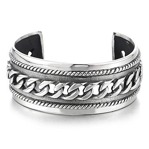 COOLSTEELANDBEYOND Männlich Breiten Herren Damen Armband Armreif aus Edelstahl Farbe Silber mit Panzerkette Ornament