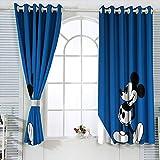 Cortinas aisladas Mic-key Min-nie Mouse Cortinas para dormitorio infantil oscurecimiento de la habitación, cortinas opacas para ventana de 132 x 214 cm