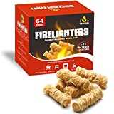 Veksun Fire Starters,Natural Firestarters Wood Wool Long Burning Kindling for Fireplace,Campfire,Fire Pit, BBQ Grill,Wood Pellet Stove,Log Burner,Pizza Oven,Smokers-64 FireLighters Total