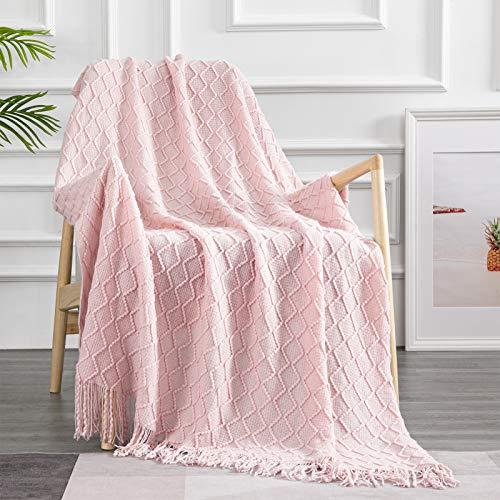 Topfinel Coperta Crochet con Nappa Coperta in Cotone per Divano Letto,Leggero accoglienti e Resistenti,Facile da Curare,150x200CM-1 Rosa Cannella