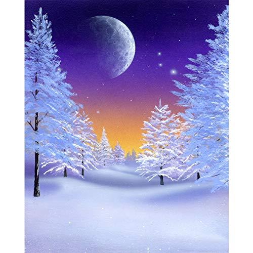 XLJ Moon Diamond Art Kits for Adults, Snow Diamond Painting Kit for Kids, Christmas Diamond Dotz Full Drill for Home Wall Decor 12x16 Inch