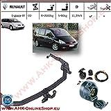 ATTELAGE avec faisceau 7 broches | Renault Espace IV de 2002- / crochet «col de cygne» démontable avec outils