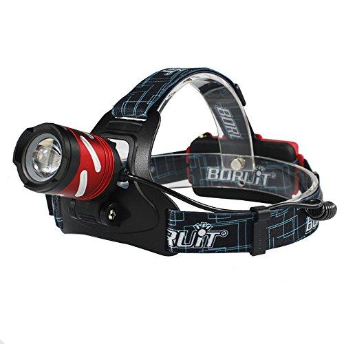 BORUiT Linterna frontal LED B9 XP-G2, 3 modos, impermeable, zoomable, para caza, pesca, camping, senderismo, caminata