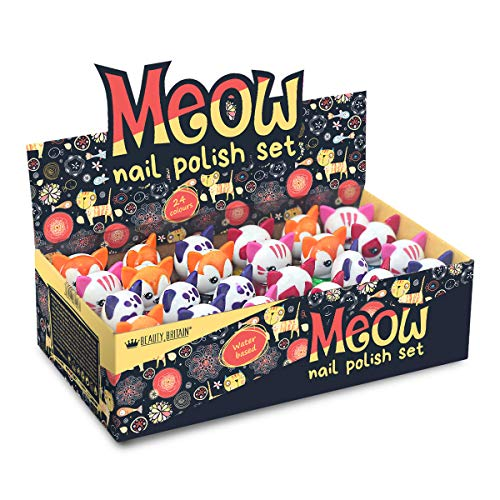24 x Nagellack Auf Wasserbasis Katzenförmige Kappen Schälen Peel off 24 Verschiedene Farben