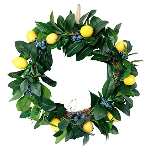 Getrichar Christmas Wreath Decoration, Simulation Lemon Wreath Autumn Harvest Holiday Wall Decoration Door Hanging Wall Decoration, Used for Front Door Dining Table Wall and Christmas Decoration