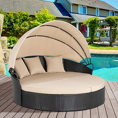 Shintenchi Outdoor Patio Round Daybed with Retractable Canopy & Washable Cushions Wicker Rattan Furniture Sets, All-Weather Separated Seating Sofa for Outdoor Patio Lawn Backyard Garden Pool,(Beige)