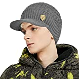 Winter Waffle Visor Beanie | Brimmed Knit Hat with Bill | Fleece Lined Toboggan Ski Cap for Men Women (Grey)