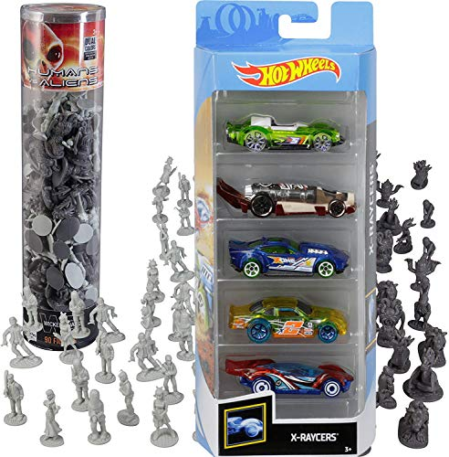 Hot Wheels X-Race Sci-Fi 5-Pack X-Raycers Sci-Fi Action Battle Bundled with Space Monster Aliens + Human Army Mini Figures 2 Items