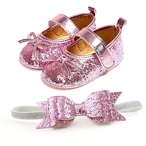 TMEOG Infant Baby Girls Schuhe Weiche Sohle Bowknot Princess Brautkleider Neugeborene Baby Freizeitschuhe + Stirnband