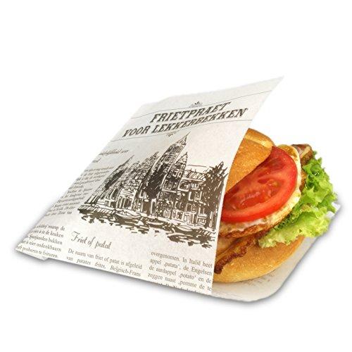 1000 Snacktüten Snacktaschen/Dönertaschen, To Go-Snackbeutel, Sandwich Taschen weiß, 2-seitig offen, Perga-Ersatz - Zeitungsmotiv