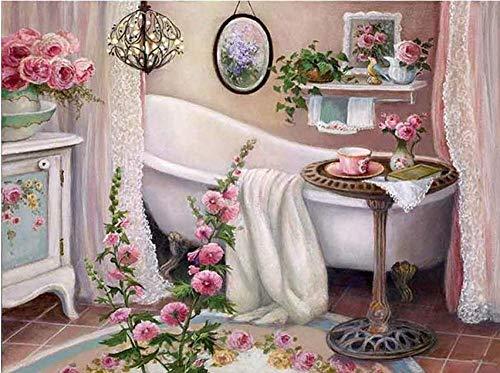 DIY diamantschilderij, badkuip-motief, 5D, vierkant, diamant-borduurwerk, diamant, mozaïek, badkamerdecoratie 60x80cm