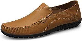 Gobling Men's Round Toe Oxfords Lightweight Casual Flat Driving Loafers Leather Slip On Stitch Walking Boat Shoes (Color : Khaki, Size : 8 M US)