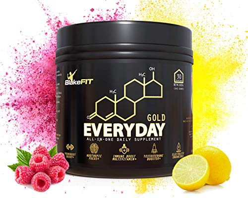 Everyday Gold All-in-one Supplement Powder | Raspberry Lemon | Immune Boost Multivitamin | Preworkout | Electrolytes | Natural Testosterone Booster | Nootropics | Keto-Friendly | Vegan Certified