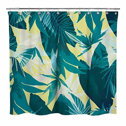 Sunlit Design Pflanzenstoff Duschvorhang, türkise Palmablätter mit hellgelbem Hintergr&, Gardinen für Zuhause Badezimmer Dekoration