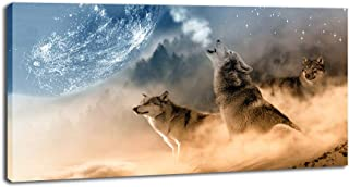 DINGDONG ART Wolf with Moon Canvas Wall Art Painting Wolves Howl Poster Picture Framed Animal Mural for Living Room Home Decor 20 x 40 Inch