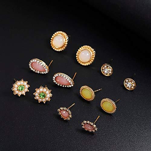 Burenqi Pendientes Juego De Aretes De Diseño Simple para Mujer Bohemia Pendientes De Cristal Geométricos Redondos Declaración De Moda Regalos De Joyería