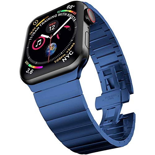 LRJBFC For la Correa de Acero Inoxidable de Apple Venda de Reloj de 44 mm 40 mm 42 mm 38 mm Bandas de la Mariposa de Metal Pulsera de IWatch Banda for la Serie 5 4 3 6 Se
