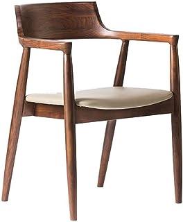 Accesorios para el hogar Sillas de comedor Sillón curvo lateral de cocina de madera pesada Los asientos de la silla se pueden utilizar como silla de oficina en casa para el salón del restaurante (T