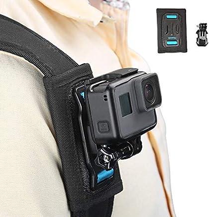 TELESIN Bag Backpack Shoulder Strap Mount with Adjustable Shoulder Pad and J Hook, Strap Holder Attachment System for GoPro Hero 7, Hero 6/5/4/3+, Session4/5, OSMO Action, Xiaoyi 4K, Insta 360 Camera