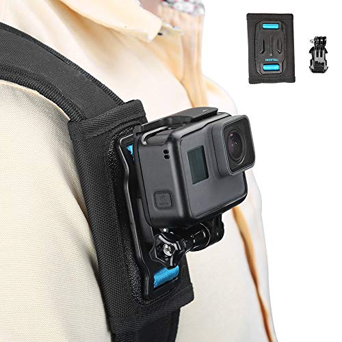 TELESIN Bag Backpack Shoulder Strap Mount with Adjustable Shoulder Pad and J Hook, Strap Holder Attachment System for GoPro Hero 8 Hero 7 Hero 6 5 4 3, Session, Osmo Action, Insta 360 Camera