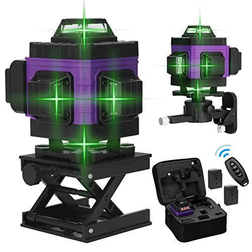 Kecheer Nivel láser autonivelante 16 líneas con 2 baterías,Nivelador laser 360º 4D pared verde,Niveles láser vertical horizontal autonivelación