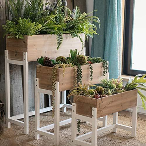 Flower Stand Shelf Plant Potted Display Bamboo Wooden Pot Rack Garden Patio Shelves Ladder Herbs Shelf Storage Rack,64 * 45 * 24cm