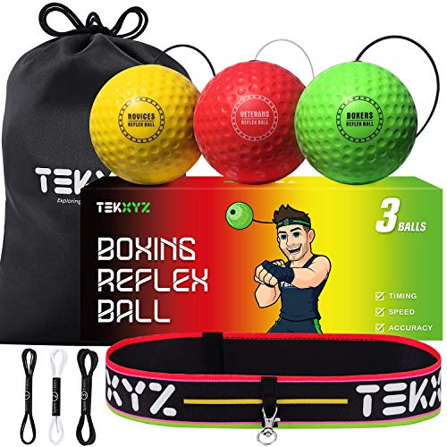 TEKXYZ Boxing Reflex Ball, 3 Difficulty Levels Boxing Ball with Headband, Softer Than Tennis Ball, Perfect for Reaction, Agility, Punching Speed, Fight Skill and Hand Eye Coordination Training