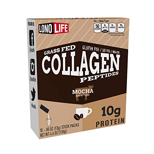 LonoLife Mocha Collagen Peptides with 10g Protein, Paleo and Keto Friendly, Portable Individual Packets, 10 Servings, 10 Count