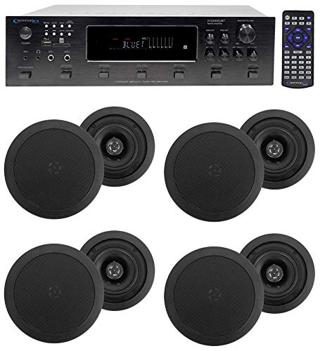"""6000w (6) Zone, Home Theater Bluetooth Receiver+(8) 5.25"""" Black Ceiling Speakers"""