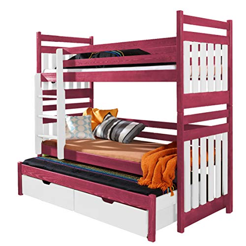 Ye Perfect Choice Triple BUNK BED Sambor Modern High Bed DRAWERS Ladder 3 Children TRUNDLE Bed Pine Wood 2 sizes