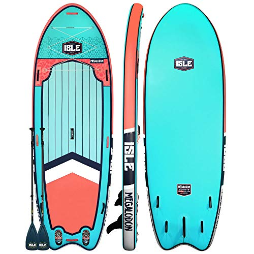 """ISLE Surf & SUP Megalodon   12' Inflatable Stand Up Paddle Board   8"""" Thick iSUP and Bundle..."""