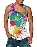 Goodstoworld Men's Sports Paint Tank Tops Workout Training Guy Colorful Tie Dye Tanks 3D Print Sleeveless Rave Shirts Summer Teen Boy Y Back Athletic Stringers Gym Muscle Graffiti Tees Medium