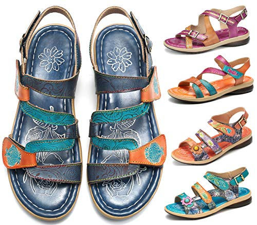 gracosy Sandalias de Verano para Mujer Bohemia Sandalias Retro Cuñas de Corte Bajo Hechas a Mano Sandalias de Costura al Aire Libre Antideslizantes Zapatillas de Confort Lago Azul Púrpura