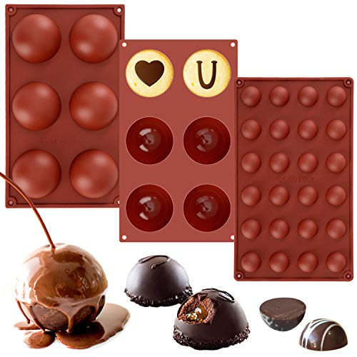 Nicecho 3 Pack Silicone Molds for Baking,Candy & Chocolate Molds Silicone Shapes,Gelatin Truffle Mold,Sphere Chocolate Bomb Moulds for Baking,Cake ball,Jelly,Pudding,Dome Mousse,Candy,Brownie Tray