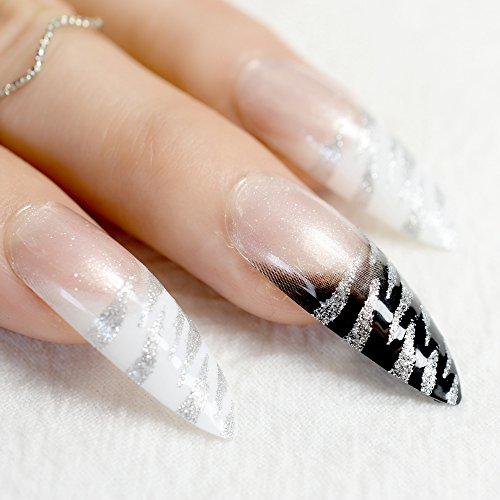 EchiQ Faux ongles longs à bout très pointu à motif zébré noir et blanc avec paillettes argentées, pour salon et fêtes